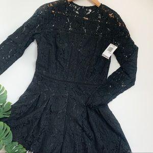 Mustard Seed Black Lace Long Sleeve Romper